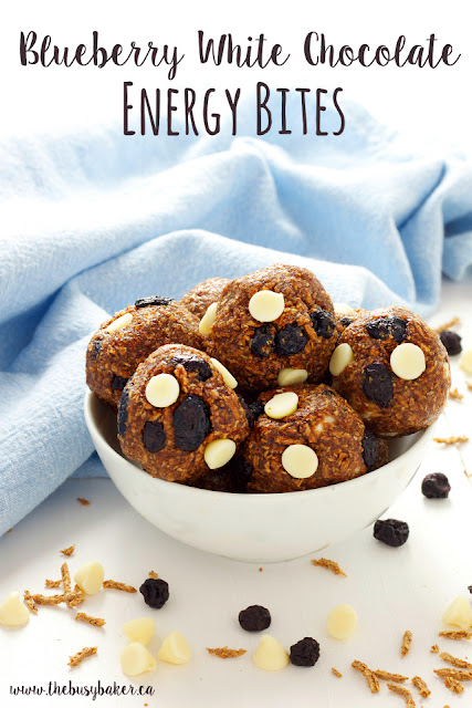 Blueberry White Chocolate Energy Bites www.thebusybaker.ca
