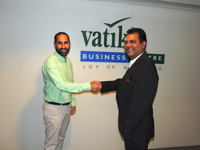 Nami Zarringhalam, co-founder and Chief Strategy Officer Truecaller with Vineet Taing, President, Vatika Business Centre