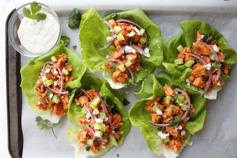 Lightweight Plate Buffalo Chicken Lettuce Wraps