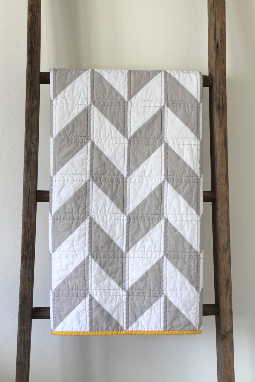 Craftyblossom Grey And White Herringbone Quilt