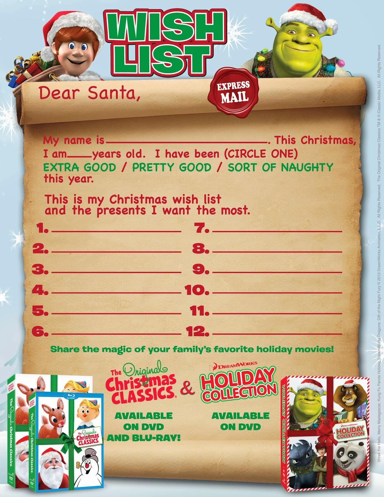 christmas wish list paper – Printable Christmas Wish List Template