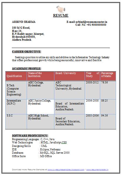 Resume For Freshers Cse Plks Tk