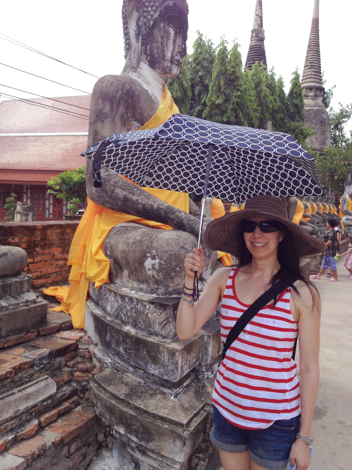 Ayutthaya - Wat Yai Chai Mongkhon - Armed with my hat and umbrella to combat the 99F weather