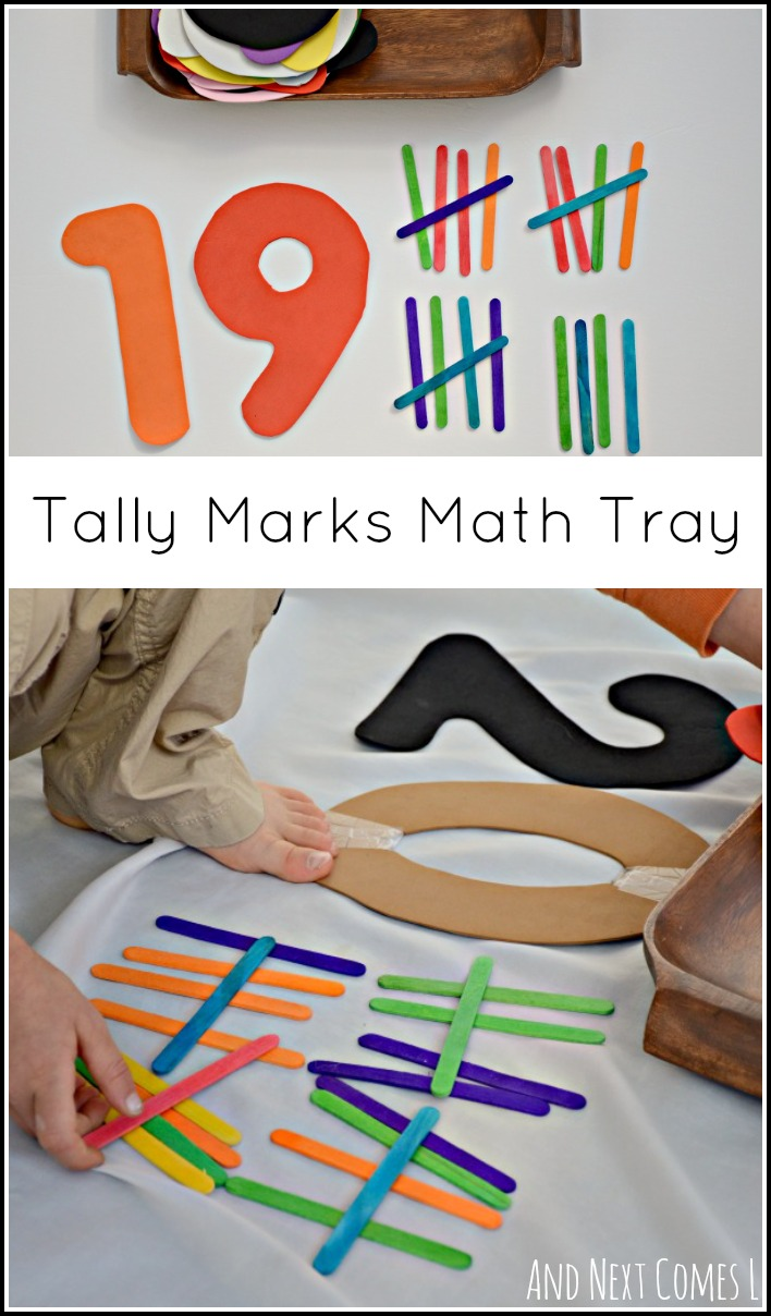 Simple math tray to practice skip counting by fives and learn about tally marks from And Next Comes L