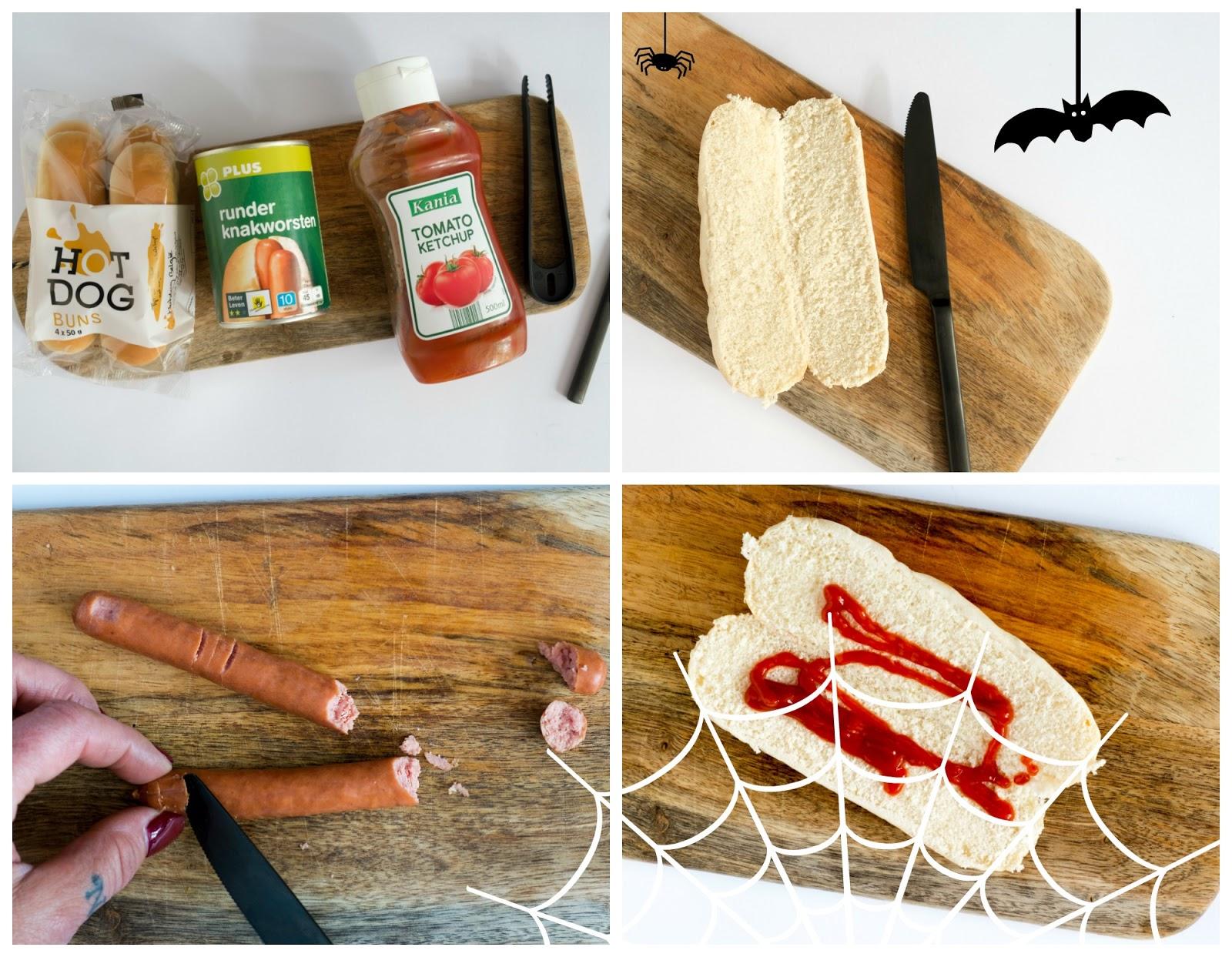 Hotdog vingers - traktatie voor Halloween, stap voor stap