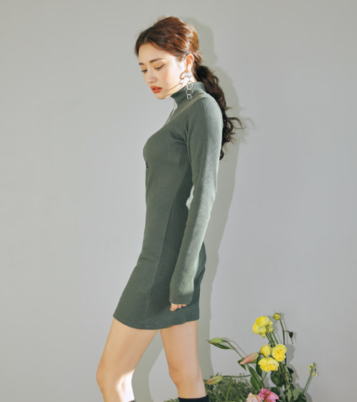 AMIABLE Embroidery Partial Zip-Up Dress