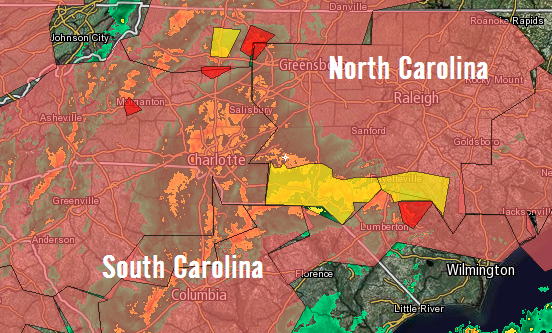 Intellicast radar of Tornado Warnings in North Carolina at 4:45 P.M. Eastern Time on May 24th, 2017