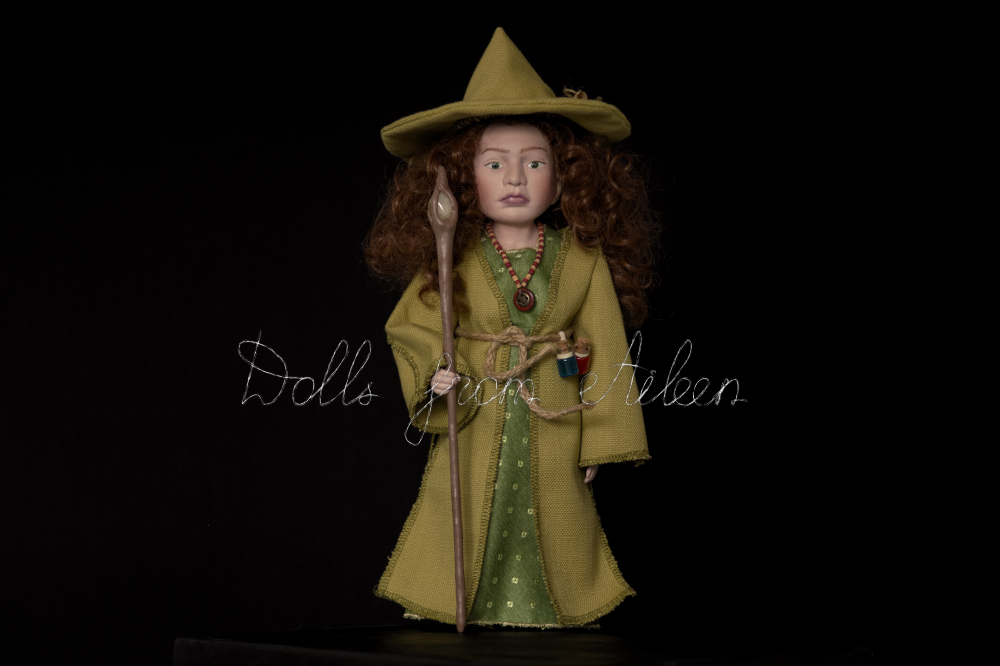 OOAK Celtic witch doll dressed in green with magic staff