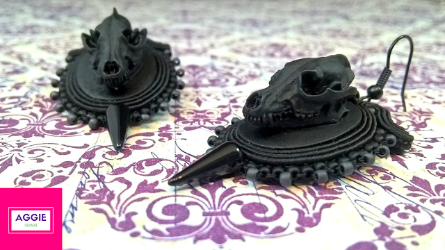 gothic soutache earrings black wolf skull