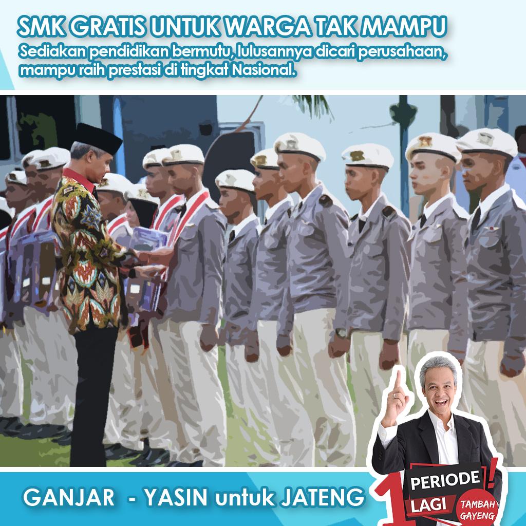 """Ganjar Pranowo : """"Program SMK Gratis Untuk Warga Tak Mampu"""""""