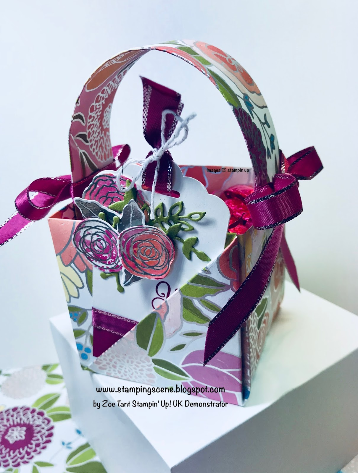Stampin up uk demonstrator independent supplier paper craft ive used an origami box pattern from pinterest increased the size to use a full sheet of designer series paper and added a handle to make this sweet basket negle Image collections