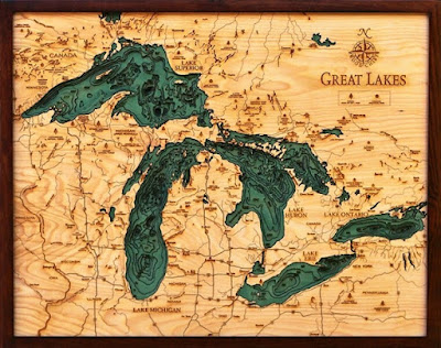 Topographical Wood Map Of The Great Lakes. Laser Cut.