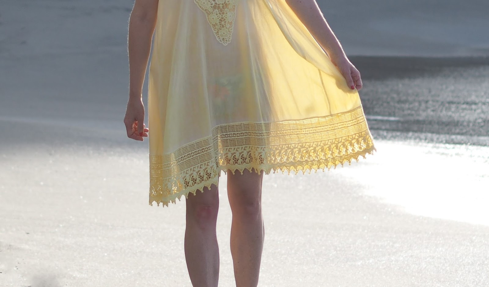 Floral bikini and yellow lace beach cover-up dress, Nerja