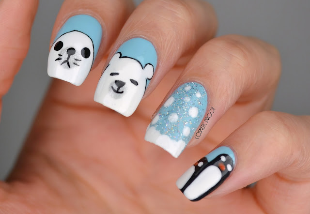 Winter Holiday Polar Bear Nail Art