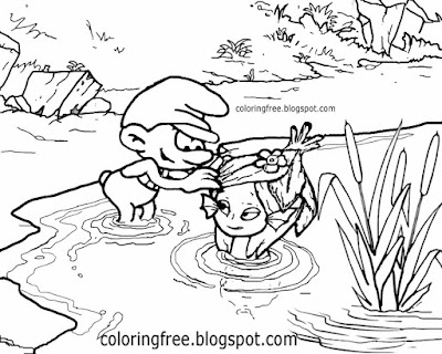 Magic sea charming girl Smurf mermaid picture happy Smurfs colouring pages for teenagers sketching