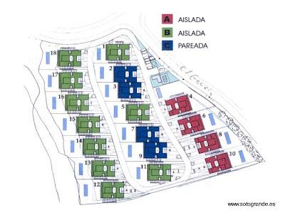 Plano del barrio de casas modernas estilo Mediterráneo