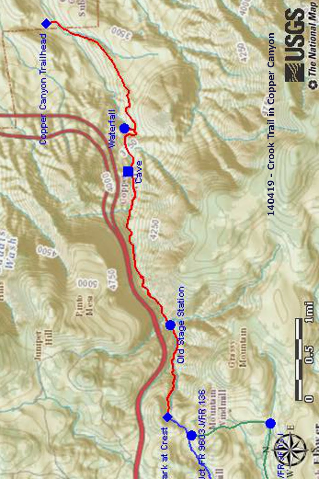 our gps track is shown in red on the included map below