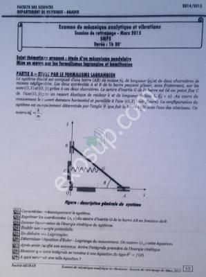 examen corrigé de mécanique analytique et vibrations smp s5 fsa - session de rattrapage 2014-15