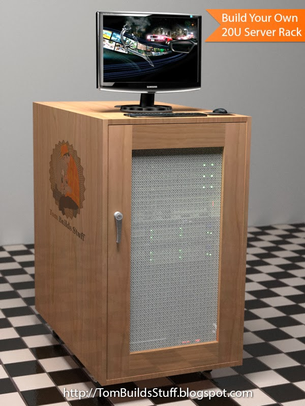 Free woodworking plans for an open frame or enclosed 20U Server Rack ...