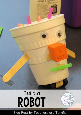 STEM Challenge for first graders! They build a robot after reading a book!