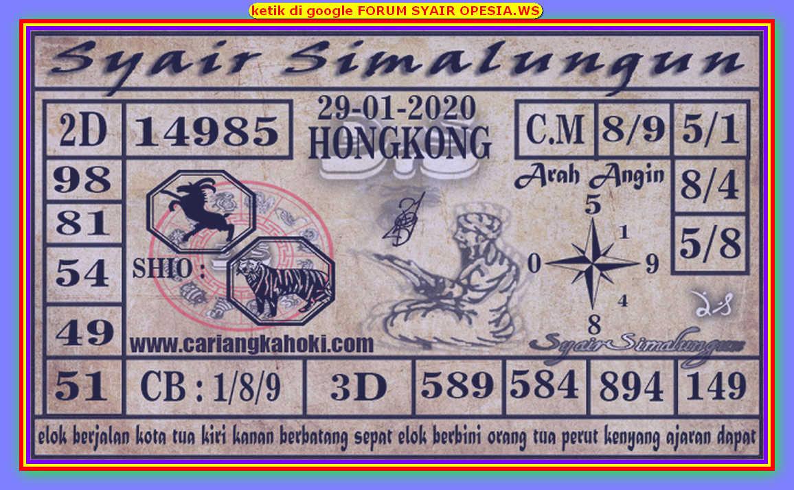 Kode syair Hongkong Rabu 29 Januari 2020 185