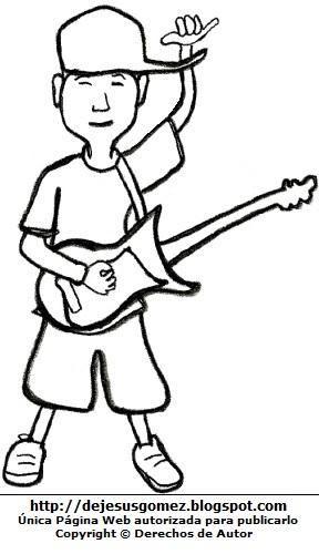 Hombre Joven tocando la guitarra para colorear, pintar e imprimir. Dibujo de joven hecho por Jesus Gómez
