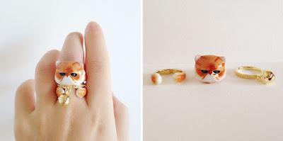 kedi tasarımlı takı,yüzük
