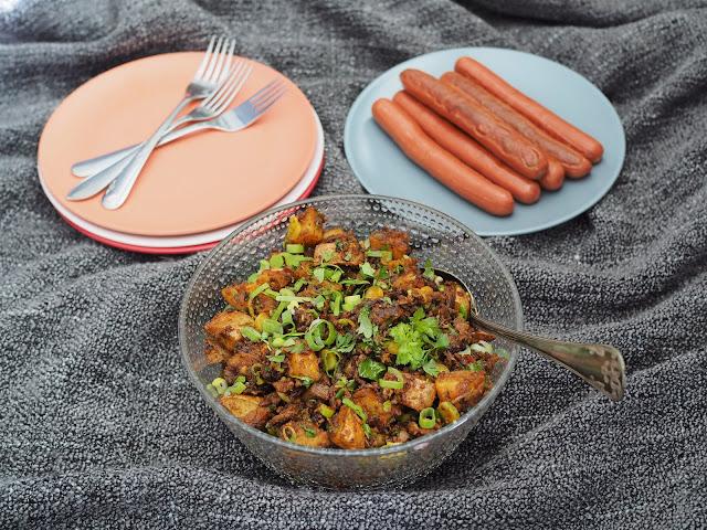 paahdettu perunasalaatti pesto beanit härkäpapu härkäpapumuru