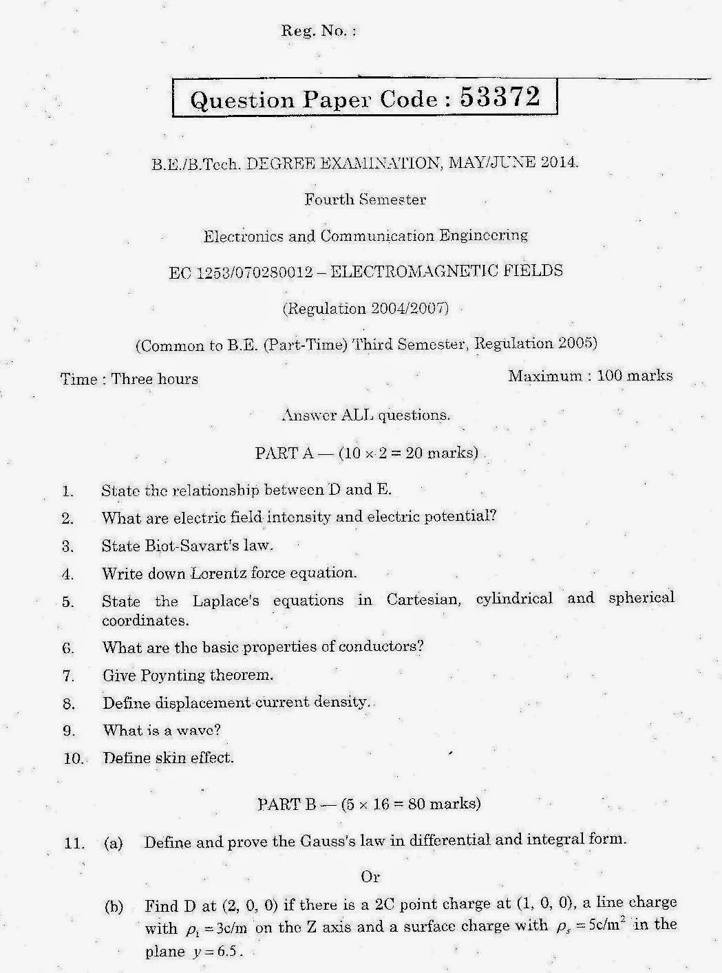 EC1253 Electromagnetic Fields Question Paper May June 2014