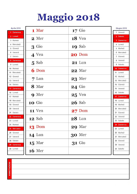 calendario mensile maggio 2018