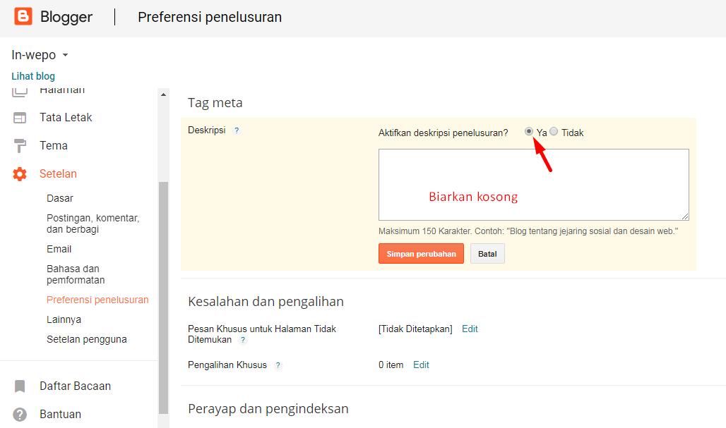 Cara Mengaktifkan Deskripsi Penelusuran Entri Postingan Blogger