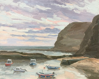 #137 'Sunrise, Staithes Beach' 9.5×12″