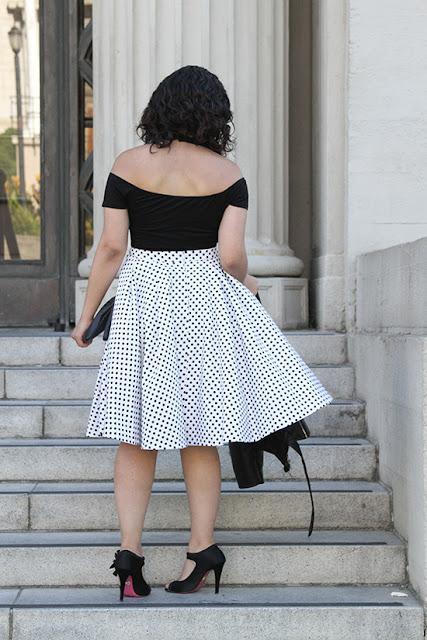 Black Tobi Bodysuit and Polka Dot Skirt Outfit
