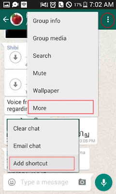 Creating shortcuts for whatsapp chat on home screen