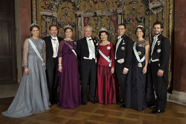 Crown Princess Victoria, Princess Madeleine, princess Sofia, Queen Silvia, tiara, diamond earrings, weddings dinner, wedding dress