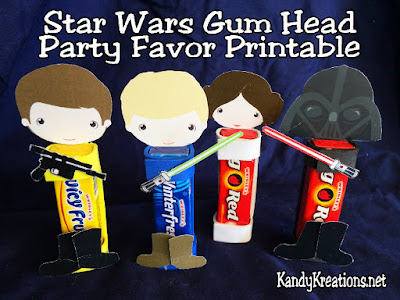 Create a fun and unique party favor with these Star Wars Gum Head printables.  The printable is free for newsletter subscribers at Kandy Kreations during the month of May.  The Gum heads are perfect for a Star Wars birthday party or May the Fourth Be With You Celebration.