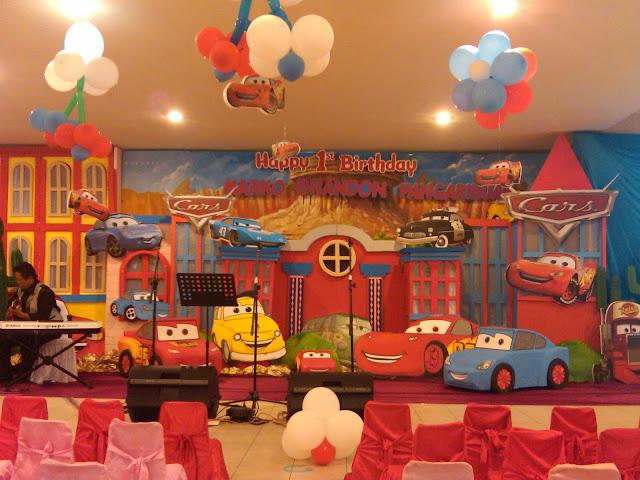 Dekorasi Backdrop ultah Cars, dekorasi ulang tahun, backdrop tema cars, Dekorasi ultah anak
