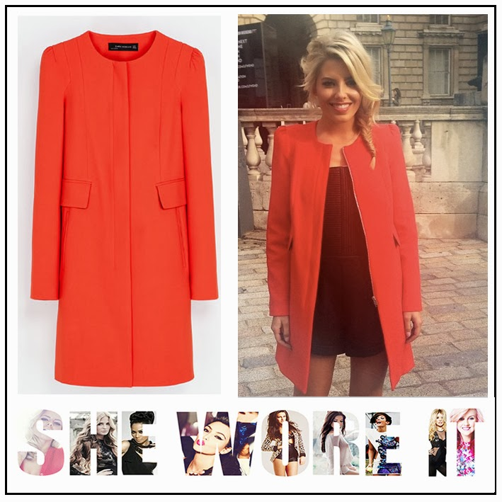 0a08a65f8d The Saturday's Mollie King Zara Bright Red Coat with Gathering ...