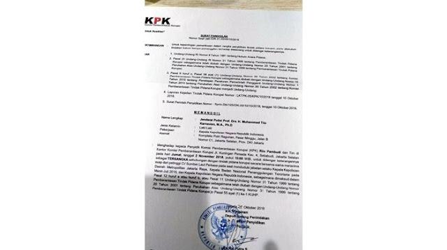 Beredar Surat Pemanggilan Jenderal Tito, KPK: Hoax!