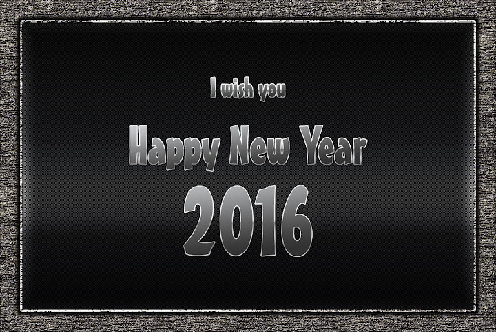 Happy New Year 2016 Black Greetings Cards