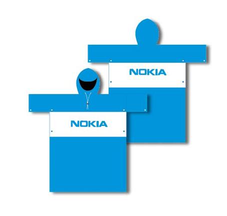 Áo mưa cánh dơi 2 màu xanh trắng  in logo Nokia