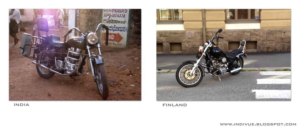 Moottoripyörä Intiassa ja moottoripyörä Suomessa
