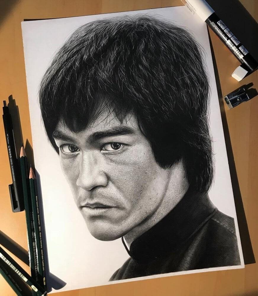 02-Bruce-Lee-Gurekbal-Bhachu-Realistic-Celebrity-Portraits-Drawings