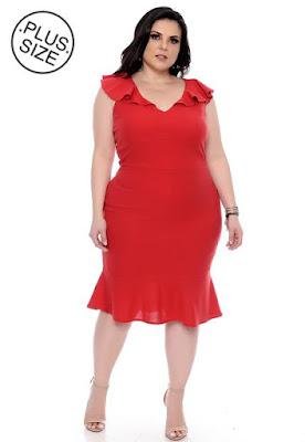 Vestido Plus Size Curto Vermelho