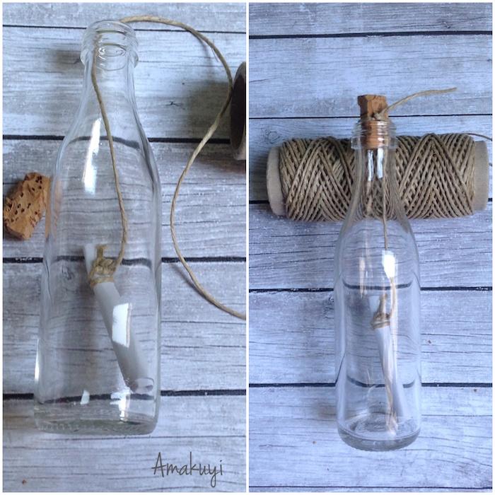 diy mensaje en una botella-reciclaje del vidrio