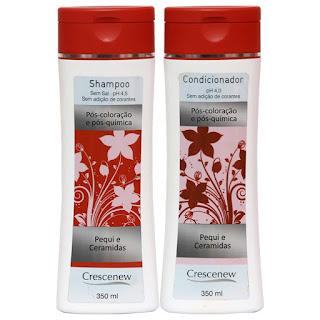 Kit shampoo e condicionador de cabelo tinto, tingido e descolorido crescenew