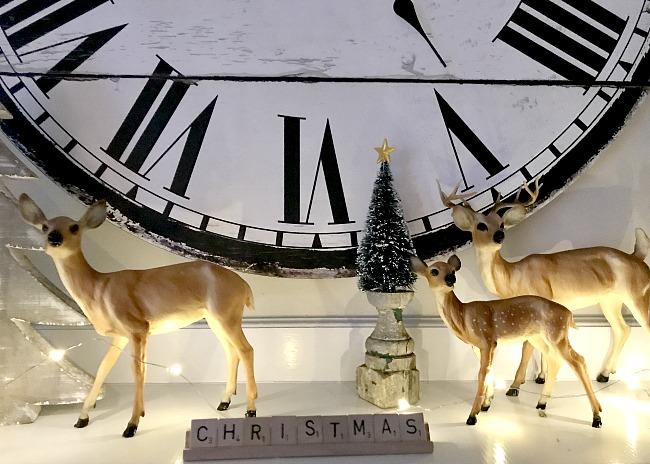 Vintage reindeer Christmas mantel