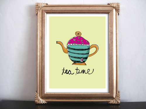 lovely digital art print, whimsical vintage art print, beautiful vintage art print, afternoon tea art print, tea time art print, diy art print, do-it-yourself print