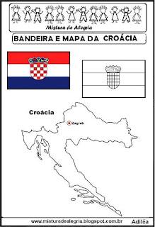 Bandeira e mapa da Croácia