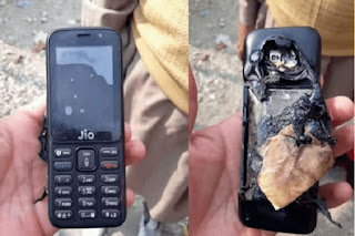 Jio phone explodes while charging